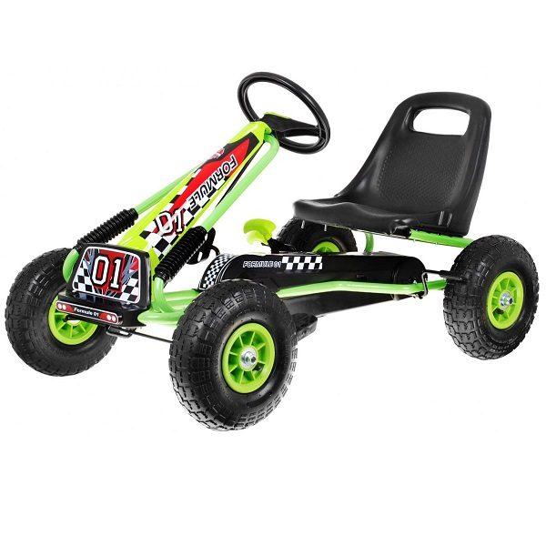 Kart cu pedale pentru copii cu roti gonflabile (A15) Verde