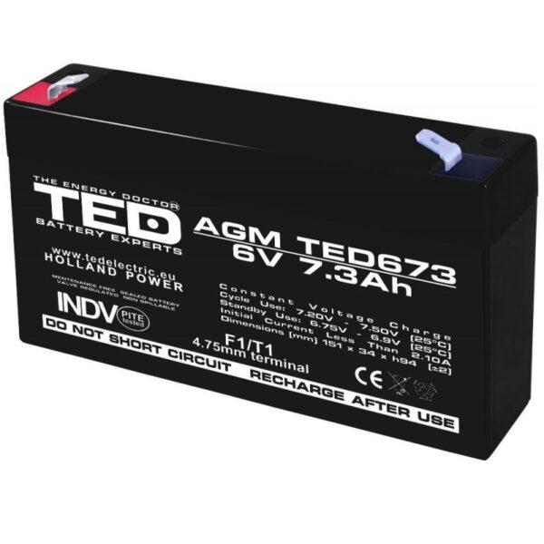 Acumulator pentru masinute electrice 6V/7.3Ah AGM VRLA F1, TED673
