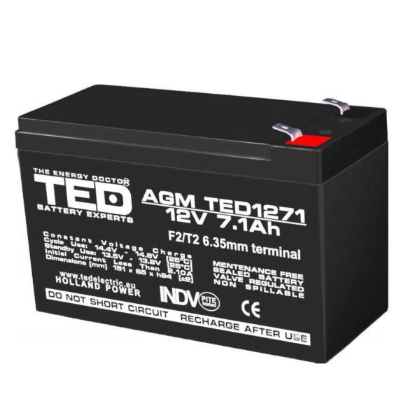 Acumulator pentru masinute electrice 12V/7.1Ah AGM VRLA F2, TED1271